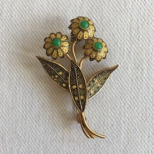 Vintage yellow and green floral pin from Spain.